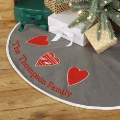 Personalised Snow Grey Nordic Heart Christmas Tree Skirt
