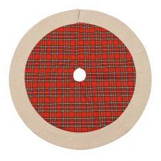 Extra Large Red Tartan Patchwork Christmas Tree Skirt