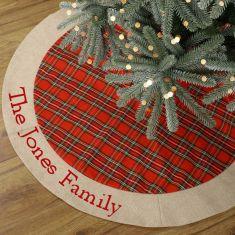 Personalised Red Tartan Patchwork Christmas Tree Skirt