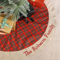 Personalised Extra Large Red Tartan Patchwork Christmas Tree Skirt