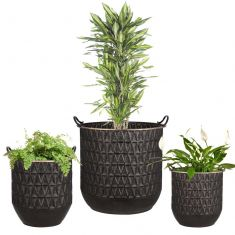 Set of 3 Embossed Bucket Planters