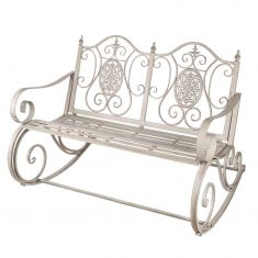 Grey Ornate Scrolled Rocking Bench