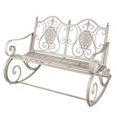 Grey Ornate Scrolled Rocking Bench