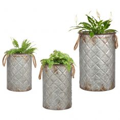 Set of 3 Diamond Bucket Planters