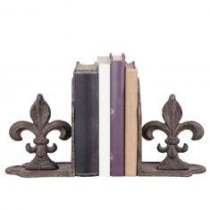 Pair of Fleur de Lys Cast Iron Bookends