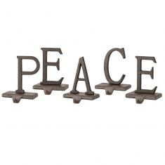 PEACE Set of 5 Christmas Stocking Holders