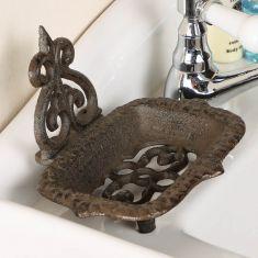 Fleur de Lys Cast Iron Bathroom Soap Dish