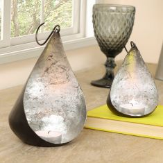 Set of 2 Hanging Silver Tealight Holders