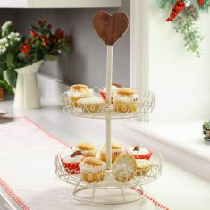 Personalised Heart Trim Double Tier Cake Stand