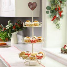Country Cream Heart Three Tier Cake Stand