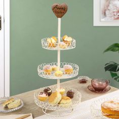 Personalised Heart Trim Three Tier Cake Stand