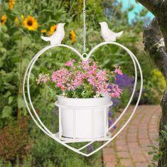 Hanging Heart Bird Planter