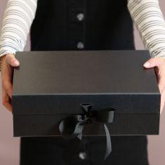 Large A4 Black Ribbon Tied Gift Box