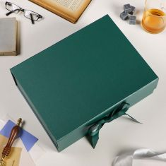 Large A4 Forest Green Ribbon Tied Gift Box