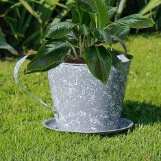 Grey Metal Teacup Planter