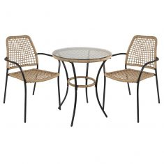 Rustic Rattan 3pc Bistro Dining Set