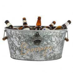 'Beverages' Gold and Zinc Beer Bucket