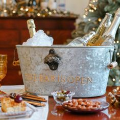 'The Bar Is Open' Gold and Zinc Beer Bucket