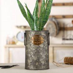 Aged Zinc Tall English Country Planter Bucket