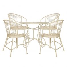 Cream Heart Scrolled 4 Seater Outdoor Dining Set