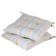 Set of 2 Oxford Blue Stripe Seat Pads with Ties