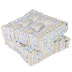 Set of 2 Oxford Blue Stripe Box Cushion Seat Pads
