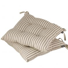 Set of 2 Grey Stripe Seat Pads with Ties