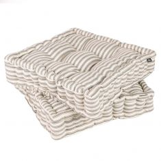 Set of 2 Grey Stripe Cushion Seat Pads