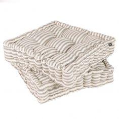 Set of 2 Grey Striped Alfresco Dining Mattress Cushions