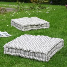 Giant Grey Striped Cushion Seat Pad Mattress Cushion