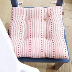 Set of 2 Red Bakewell Heart Seat Pads with Ties