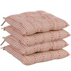 Set of 4 Rustic Striped Heart Seat Pads