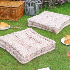 Set of 2 Red Heart Striped Alfresco Dining Mattress Cushions