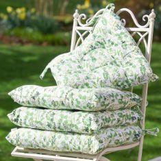 Four Organic Cotton Botanical Outdoor Cushions