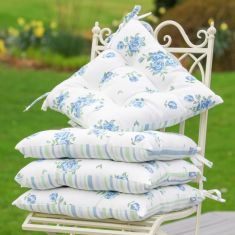 Set of 4 Blue Rose Tie-On Alfresco Dining Chair Seat Pads