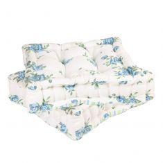 Set of 2 Blue Floral Mattress Garden Seat Pads