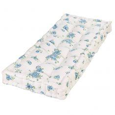 Heritage Bloom Blue Floral Print Vintage Bench Cushion