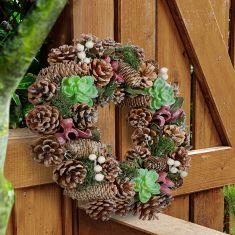 Sparkling Succulent Natural Summer Door Wreath