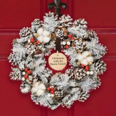 Personalised Cotton Snowdrift Wreath 14