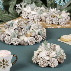 Snow Dusted Winter Woodland Tealight Holders