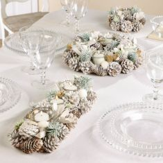 White Christmas Candle Holder Table Decorations