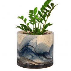 Large Hand Painted Ceramic Wave Planter