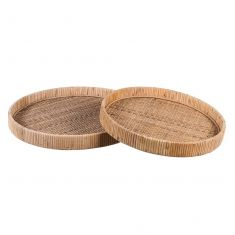 Set of 2 Woven Rattan Serving Trays