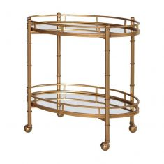 2 Tier Mirrored Bar Serving Trolley