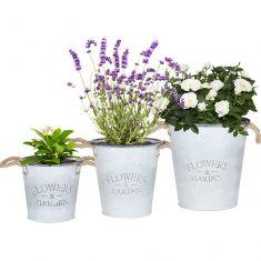 Set of 3 Rope Handle Metal Bucket Planters