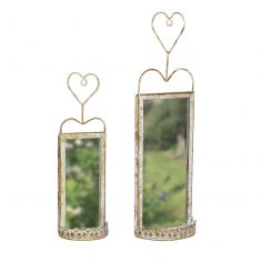 Set of 2 Heart Topped Garden Mirrors
