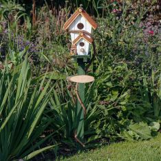 White Double Bird House with Stake