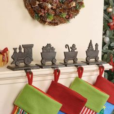 Family of 4 Train Christmas Stocking Holder Set