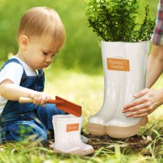 Personalised Daddy and Me White Wellington Planter Gift Set