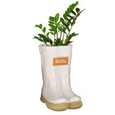 Personalised Large White Wellington Planter